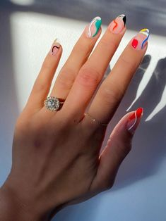 176 charming acrylic nails for long nails and short nails – page 1 Nail Art Cute, Cute Acrylic Nails, Edgy Nail Art, Minimalist Nails, Spring Nail Art, Spring Nails, Nail Art Abstrait, Ten Nails, Kylie Nails