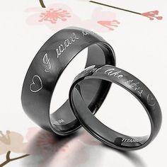 Black ANY YOURWORD Wedding Engagement Bands Titanium Couple Ring Set Sz4-15 4&6m