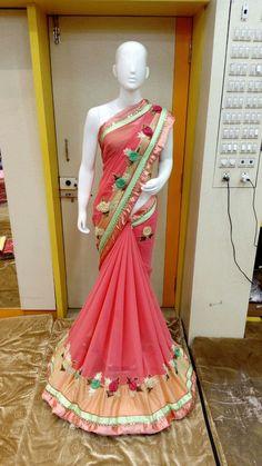 Buy Fancy Pink Embroidered Lace Border Work Saree online | Craftsvilla