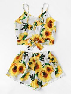 Sunflower Print Cami Top With Wide Leg Shorts -SheIn(Sheinside) Really Cute Outfits, Cute Swag Outfits, Cute Comfy Outfits, Cute Summer Outfits, Trendy Outfits, Girls Fashion Clothes, Summer Fashion Outfits, Teenager Outfits, Outfits For Teens