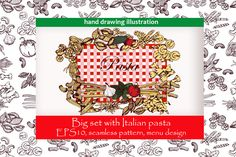 Hand drawing set with Italian pasta by skvorka on @creativemarket