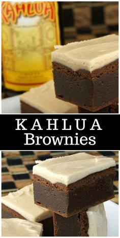 Fudgy Kahlua Brownies with Browned Butter Kahlua Icing recipe - from RecipeGirl. Cookie Desserts, Chocolate Desserts, No Bake Desserts, Just Desserts, Delicious Desserts, Dessert Recipes, Chocolate Chips, Bar Recipes, Mint Chocolate