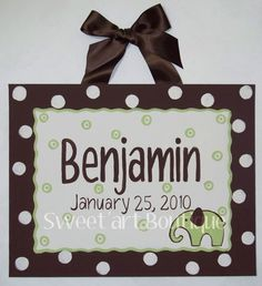 Items similar to Personalized Elephant Dots Brown Green Custom canvas letter name sign wall art children baby nursery birth announcement birthday date polka on Etsy Baby Wall Art, Art Wall Kids, Art For Kids, Art Children, Fun Baby Announcement, Birth Announcements, Baby Elephant Nursery, Baby Canvas, Canvas Letters