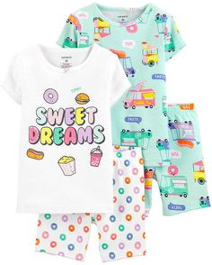 Let her mix and match with this sweet PJ set. Carter's cotton PJs are not flame resistant. They're designed with a snug and stretchy fit for safety and comfort. Baby Girl Pajamas, Cute Pajamas, Girls Pajamas, Kids Nightwear, Girls Sleepwear, Toddler Outfits, Boy Outfits, Cotton Pjs, Tween Girls