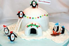 Cute igloo cake www.mycakeschool.com
