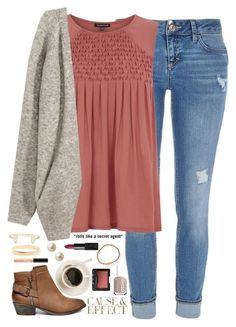 Really cute outfit idea - denim, pink shirt, gray cardigan, ankle boots.