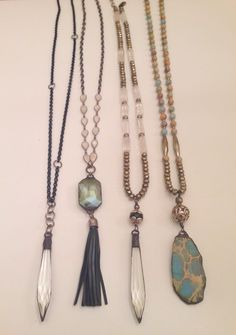 Natural stones and vintage elements combined to make these long pendant necklaces. Email lisajilljewelry@gmail.com for inquiries