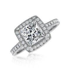 Certified GIA Princess Cut Diamond Engagement Ring 18k White Gold 1.58 Carat #DiamondsByElizabeth #ThreeStone