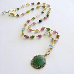 Green Tourmaline Pave Diamonds Blue Topaz Necklace - Lenora Necklace