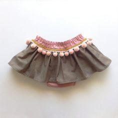 Boho Toddler Skirt Bohemian Baby Skirt Pink Pom by moonroomkids