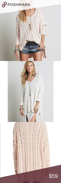 Free People Easy V-Neck Oversized Knit Sweater XS This is a beautiful Free People Easy V-Neck oversized knit sweater. Size extra small but will fit up to a medium. Cream color made of 100% cotton. Mint condition. A textured, cable-knit Free People sweater in an oversized silhouette. Side slits and dropped shoulder seams accentuate the relaxed look. V neckline. Fitted sleeves.  Fabric: Bouclé cable knit. 100% cotton. Hand wash. Free People Sweaters V-Necks