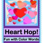 VALENTINE'S OR ANY TIME!  Play a GROUP GAME with HEARTS, and learn 20 COLOR WORDS!  Red and Pink are great-- have even more fun with Peach, Silver, and Magenta!  Use as a MATCHING GAME for Pre-K - K, or as SIGHT WORD WORK for K - 1st.  Heart Templates and 20 CARDS FOR COLOR WORDS are included.  All you need is a box of 64 Crayolas!  Sing a funny SONG-- Song Notes are provided.  Enjoy multi-sensory learning with Joyful Noises Express TpT!  $