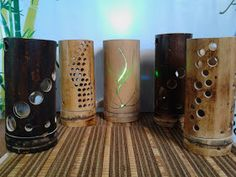 Bamboo Light, Wood Lamps, Bamboo Lamps, Bamboo Poles, Bamboo Architecture, Glass Bottle Crafts, Bamboo Crafts, Lamp Design, Decoration