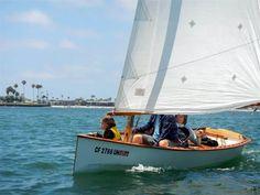 Goat Island Skiff Info - Simple Sailing dinghy Plan, Excellent performance, Lightweight - Storer Boat Plans in Wood and Plywood Plywood Boat Plans, Wooden Boat Plans, Wooden Canoe, Wooden Boats, Sailing Dinghy, Sailing Boat, Dinghy Sailboat, Motor Cruiser, Sailboat Plans