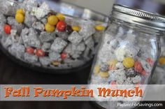 Fall Pumpkin Munch Recipe- Perfect for Parties and Gifts! Add Reese's pieces to puppy chow! Yummy Snacks, Yummy Treats, Delicious Desserts, Sweet Treats, Snack Recipes, Dessert Recipes, Cooking Recipes, Yummy Food, Fall Treats