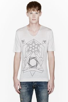 DIESEL BLACK GOLD Oyster grey geometric print t-shirt