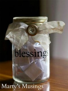 Memory jar. I would love to have a blessing jar! hmmm. might be a next project!!