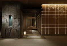 Rough stone feature - Palace Hotel Wadakura restaurant by A. Japanese Modern, Japanese Interior, Japanese Style, Space Interiors, Hotel Interiors, Porte Cochere, Lobby Interior, Interior Architecture, Japanese Restaurant Design