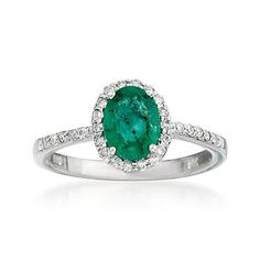 Ross-Simons - 1.10 Carat Emerald and .20 ct. t.w. Diamond Ring In 14kt White Gold - #761959