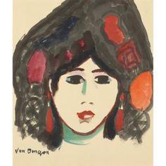 "kundst: "" Kees van Dongen (NL 1877-1968 Mon) Head of a woman wearing a mantille (c. 1907) Gouache on paper (46 x 40 cm) """