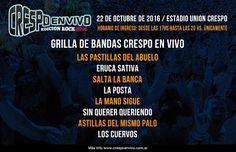 CGCWebRadio®: Agenda de Recitales Octubre 2016 Sábado 22 (Eventos Destacados)
