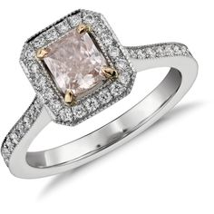 Blue Nile Radiant Cut Fancy Light Pink Diamond Halo Ring (322 920 ZAR) ❤ liked on Polyvore featuring jewelry, rings, wedding rings, accessories, anel, halo diamond ring, wedding band rings, round diamond ring and round cut diamond rings