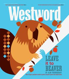 beaver.jpg - Eleanor Design and Illustration - Bright Blue, white, pattern, diamonds, brown, beige,graphic, beaver, birch tree animal cute, stylized