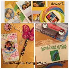 "Caleb and Sophia party favors. Butterfly pens (pinned onto pencil eraser) Sophia stickers on small note pads with sayings ""Prepare Your Comment"" ""Pay Attention at the Meeting"" etc Caleb cars with Caleb stickers Be Kind and Share. Bags of plastic insects and reptiles ""Jehovah Created All Things"" Caleb lolly pops with Caleb stickers. Bookmarks and stickers for the Hall."