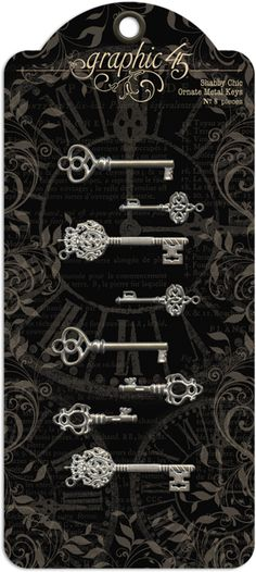 NEW! Shabby Chic Ornate Keys from Graphic45! Look for them in stores in early February 2014 #Graphic45