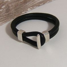 Black Leather Cord Bracelet Antiqued by SgtPeppersCreations www.sgtpepperscreations.etsy.com #handmade #jewelry