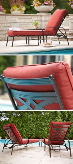 This patio chaise lounge is built for good looks, comfort and durability. The cushions are covered in premium olefin fabric in Dragon Fruit. This striking fabric easily slicks moisture away, allowing cushions to maintain their vibrant red color while resisting stains, mildew and fading.
