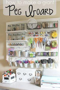 Craft Room Storage, Craft Organization, Storage Ideas, Yarn Storage, Organizing Ideas, Organization Ideas For Bedrooms, Pegboard Craft Room, Craft Storage Solutions, Storage Hacks