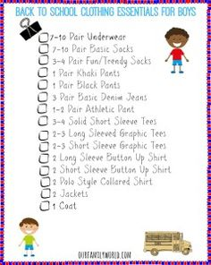 The Definitive Back to school Clothing Checklist +FREE Printable   http://www.ourfamilyworld.com/2014/07/18/back-to-school-clothing-essentials/