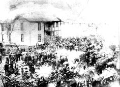 "Hatfield and McCoy feud--Hatfield home during ""Devil Anse"" funeral."