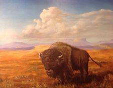 Vintage Great American Buffalo Oil Painting West Western Signed By Artist Western Signs, Vintage Paintings, Buffalo, Westerns, Elephant, Oil, American, Artist, Animals