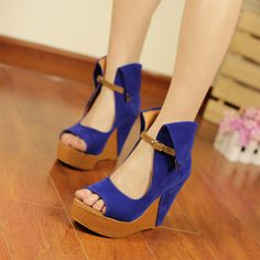 Cute shoes with some jeans Blue Wedge Heels, Blue Wedges, High Heels, Cute Shoes, Me Too Shoes, Cheap Shoes Online, Wholesale Shoes, Fall Shoes, Shoe Collection