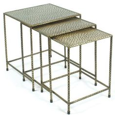 Hammered Brass Nesting Tables - Set of 3   Scenario Home