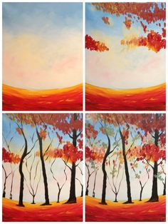 "Evolution of ""Colors of Autumn"" Painted @ Painting with a Twist Miami.  Evolution created using the iphone app Pic Jointer"