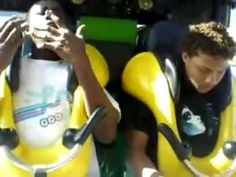 MAN FREAKS OUT ON ROLLERCOASTER(very funny)