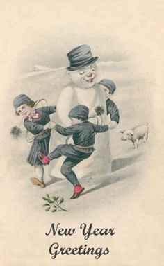 Chimney Sweeps dancing around the snowman