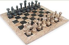 16 x 16 Fossil Marble  Black Onyx Chess Set  3 12 King  Comes with Free Gift Box *** See this great product.