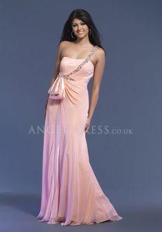 A line One Shoulder Chiffon Keyhole Floor Length Sleeveless Evening Dress