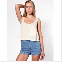 American Apparel maroon pocket tank  Super cute summer tank. Loose fitted. Wears perfect with high-waisted shorts. One left side pocket. Great shape. American Apparel Tops Crop Tops
