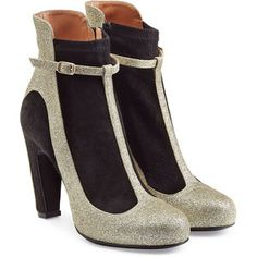 Maison Margiela Glitter and Suede Ankle Boots black heels edgy