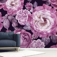 Order this on-trend, custom-made Ultra Violet Roses Dark Floral wallpaper in your bedroom for a luxurious feel. FREE UK delivery within 2 to 4 working days. Lotus Flower Wallpaper, Dandelion Wallpaper, Magnolia Wallpaper, Lily Wallpaper, Tree Wallpaper, Dark Wallpaper, Pattern Wallpaper, Iphone Wallpaper, Bedroom Wallpaper Murals