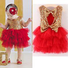 2017 Baby Flower Girl Sequins Sleevless Dress Bow Tulle Tutu Party Formal Dresses Christmas Dress Costume #christmas #dress #christmasdress