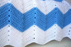 White and Blue Chevron Baby Blanket by Aalexi on Etsy.