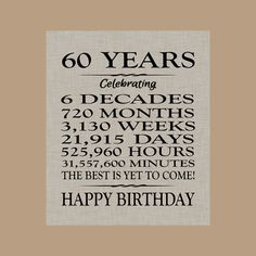 60 Birthday Sign Sixty Gift Banner 60th Quotes Ideas