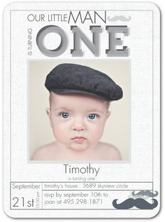 Petite Mustache - Birthday Party Invitations in Charcoal | Wiley Valentine