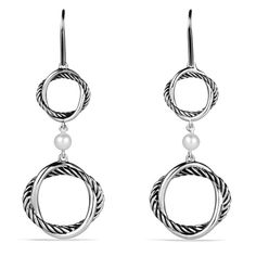 """David Yurman Infinity Double-Drop Pearl earrings 💯authentic. DY sterling silver infinity earrings with pearl drop. 2"""" long. This design is no longer in production and is very rare! Comes with dust bag, new cleaning cloth, box and authenticity card. Originally purchased from Neiman Marcus. Should be professionally cleaned before wearing. David Yurman Jewelry Earrings"""